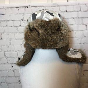 Mad Bomber Aviator Hat Rabbit Fur Camo